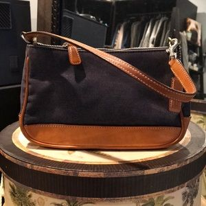 COACH jean and brown leather handbag